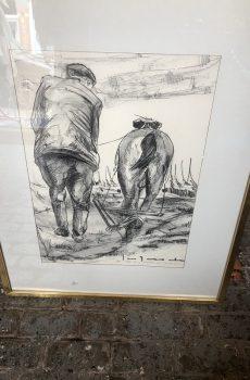 Zeeuws trekpaard met man en ploeg