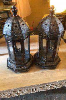 Brocante lantaarns voor kaarsen 1